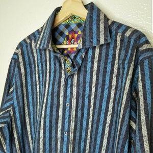 Robert Graham Multi blue flip cuff embroidered